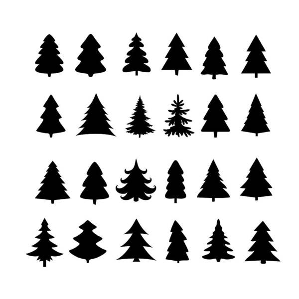 Christmas Tree Icon.Christmas Tree Silhouette Design Vector Set Concept Tree Icon Collection Isolated On White Background Art Print