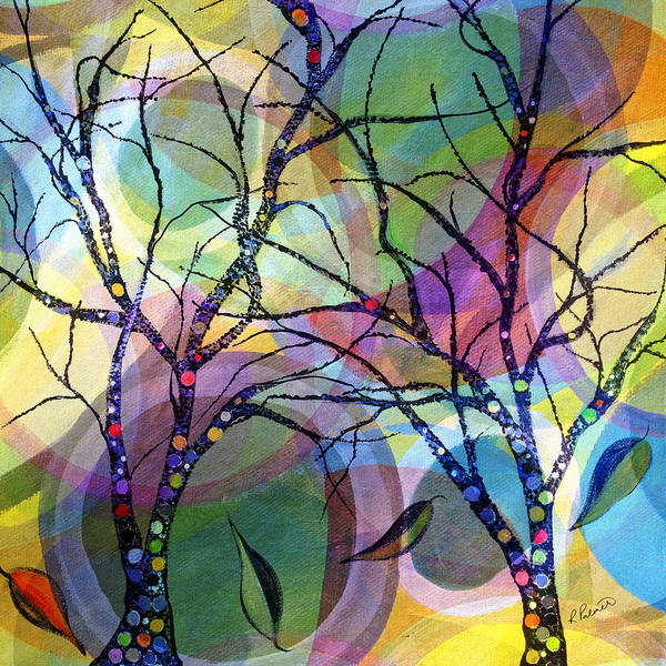 Abstract Art Print featuring the painting Circle Trees by Ruth Palmer
