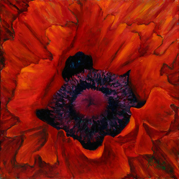 Red Poppy Print featuring the painting Close Up Poppy by Billie Colson