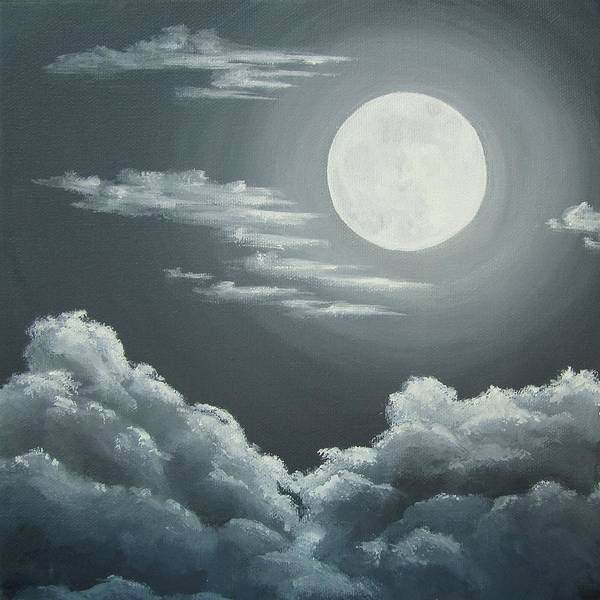 Moon Art Print featuring the painting Clouds Under A Full Moon by Anna Bronwyn Foley