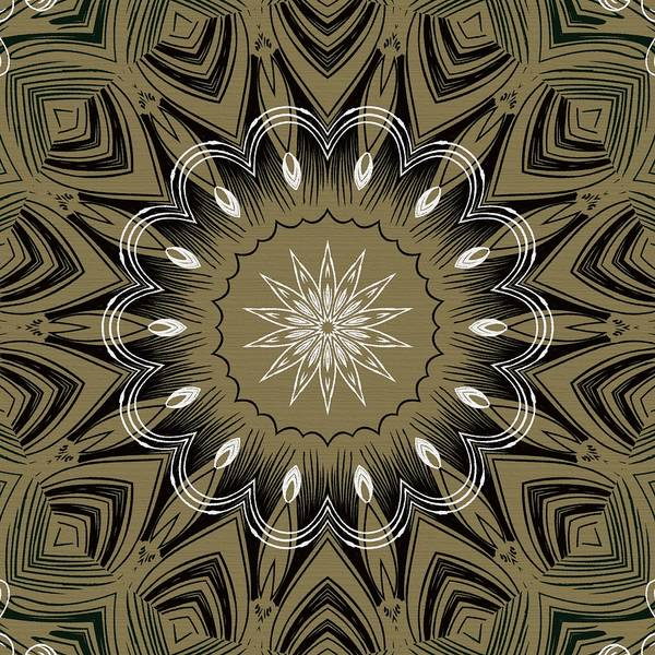 Intricate Art Print featuring the digital art Coffee Flowers 4 Olive Ornate Medallion by Angelina Vick