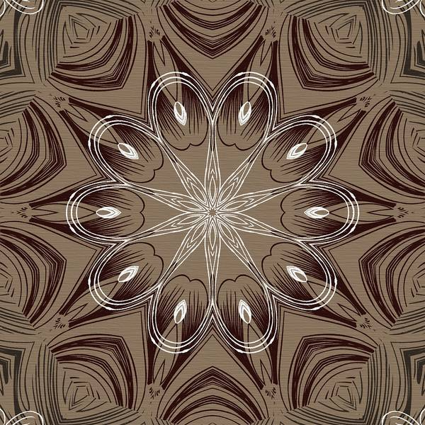 Intricate Art Print featuring the digital art Coffee Flowers 4 Ornate Medallion by Angelina Vick