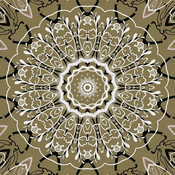 Intricate Art Print featuring the digital art Coffee Flowers 5 Olive Ornate Medallion by Angelina Vick