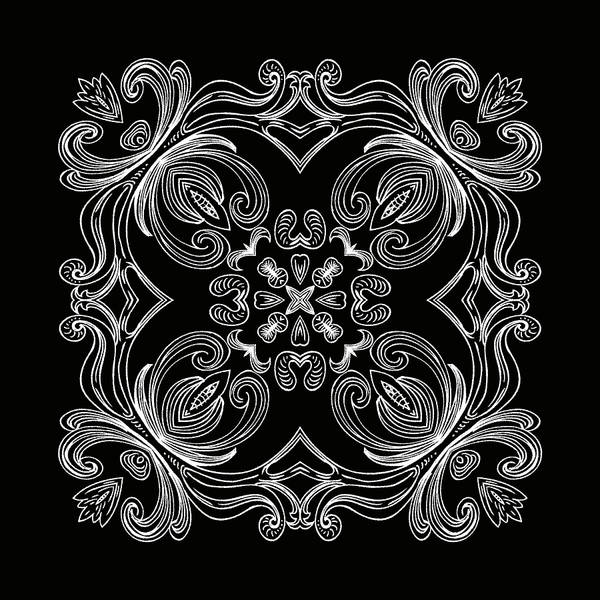 Intricate Art Print featuring the digital art Coffee Flowers 6 Bw Ornate Medallion by Angelina Vick