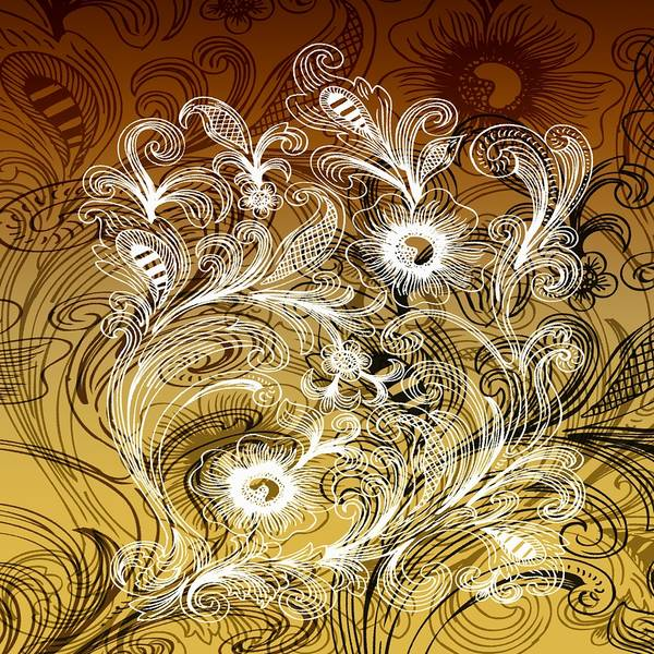 Intricate Art Print featuring the digital art Coffee Flowers 6 Calypso by Angelina Vick