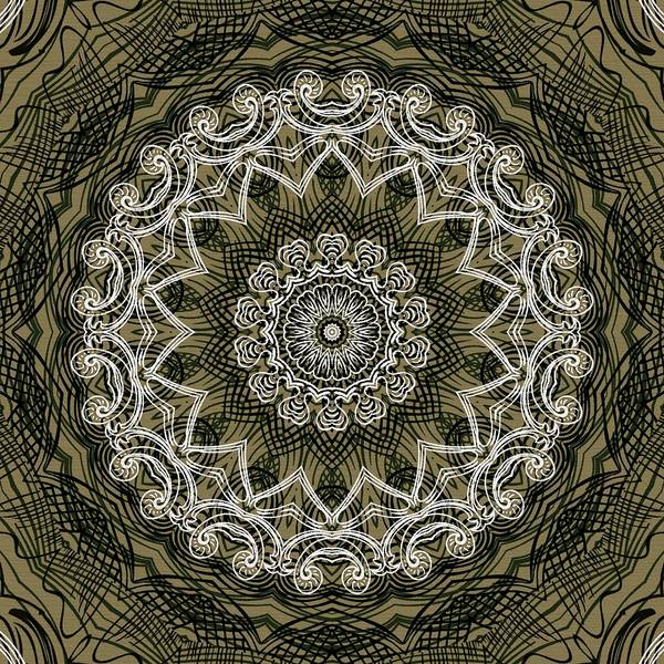 Intricate Art Print featuring the digital art Coffee Flowers 6 Olive Ornate Medallion by Angelina Vick