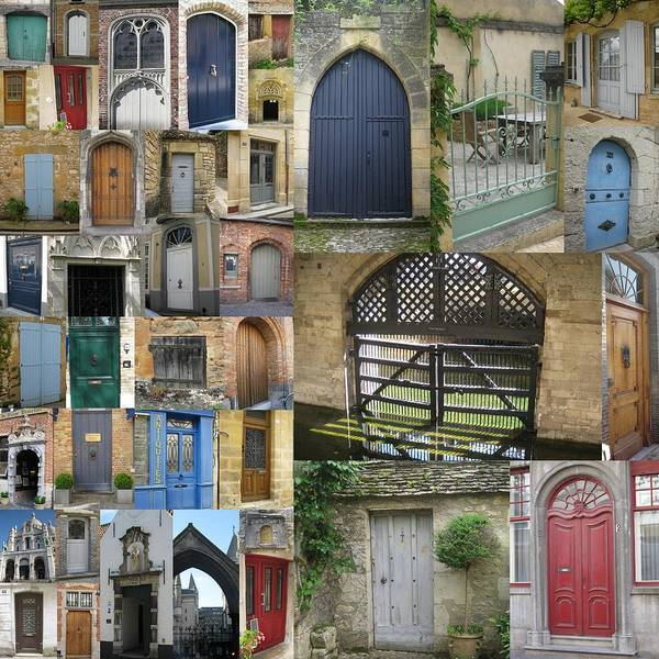 Door Art Print featuring the photograph Collage Of Doors by Cathy Jacobs