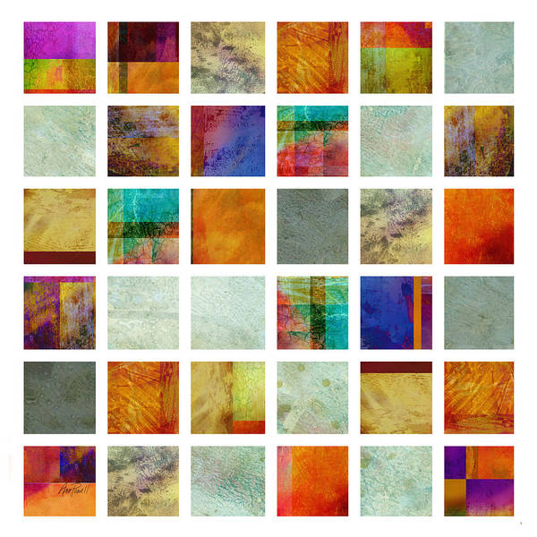 Abstract Print featuring the painting Color Block Collage Abstract Art by Ann Powell