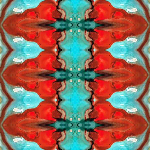 Abstract Art Print featuring the painting Color Chant - Red And Aqua Pattern Art By Sharon Cummings by Sharon Cummings