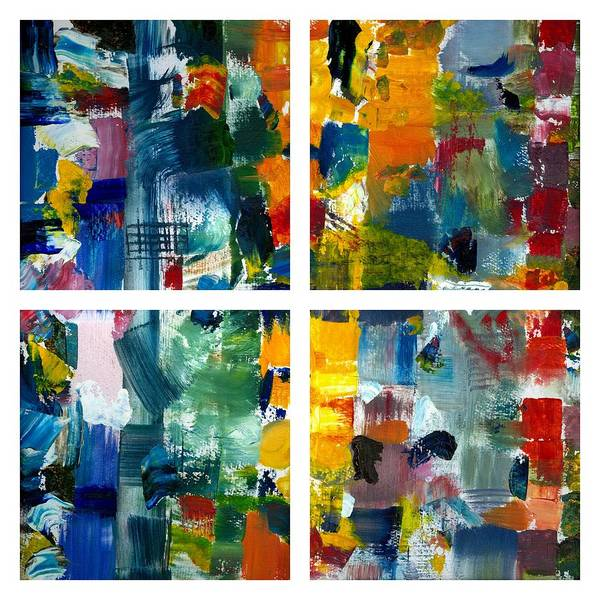 Abstract Collage Art Print featuring the painting Color Relationships Collage by Michelle Calkins