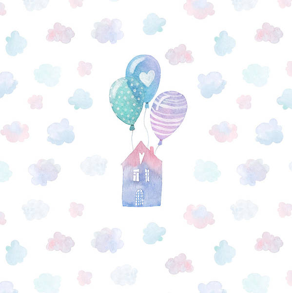 Art Print Featuring The Drawing Colorful Hand Painted Birthday Card With Watercolor Flying House