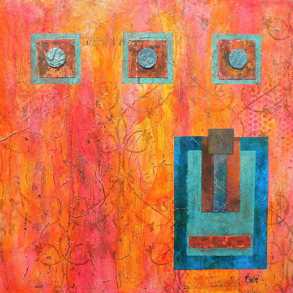 Coral And Turquoise Art Print featuring the painting Coral And Turquoise by Debi Starr