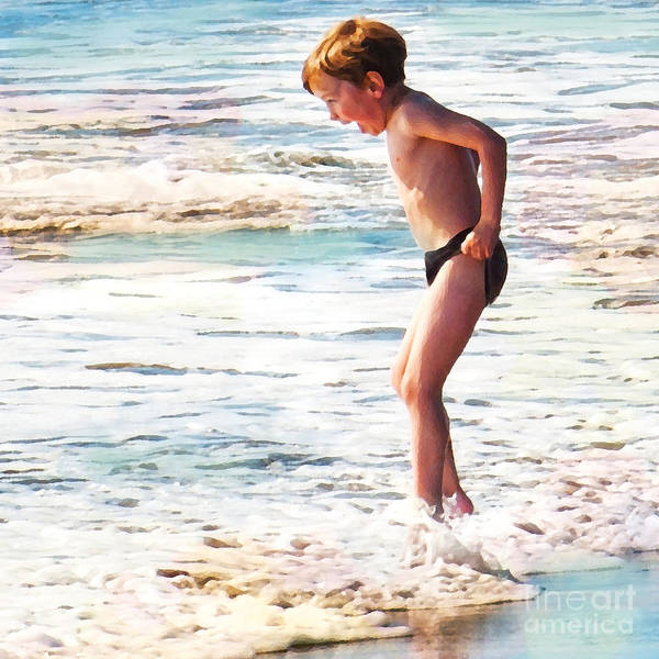 Boy In The Ocean Art Print featuring the digital art Courage by Artist and Photographer Laura Wrede