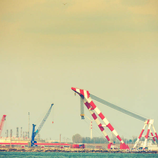 Shipyard Art Print featuring the photograph Cranes by Gabriela Insuratelu