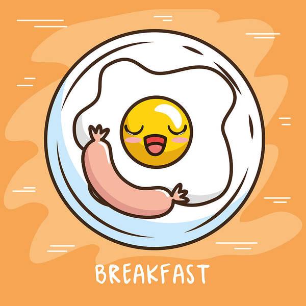 Cute Kawaii Breakfast Food Cartoon Art Print