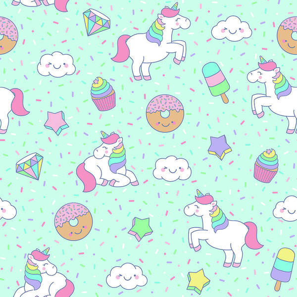 Cute Pastel Unicorn Seamless Pattern Art Print
