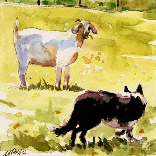 Goat Art Print featuring the painting Dandelion Greens by Molly Poole
