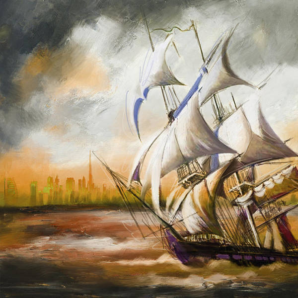 Ship Print featuring the painting Dangerous Tides by Corporate Art Task Force