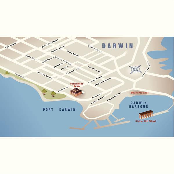 Darwin, Nt, Australia Map Art Print by RUSSELLTATEdotCOM on