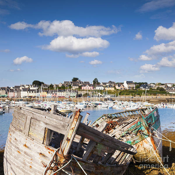 Brittany Art Print featuring the photograph Derelict Fishing Boats Camaret Sur Mer Brittany by Colin and Linda McKie