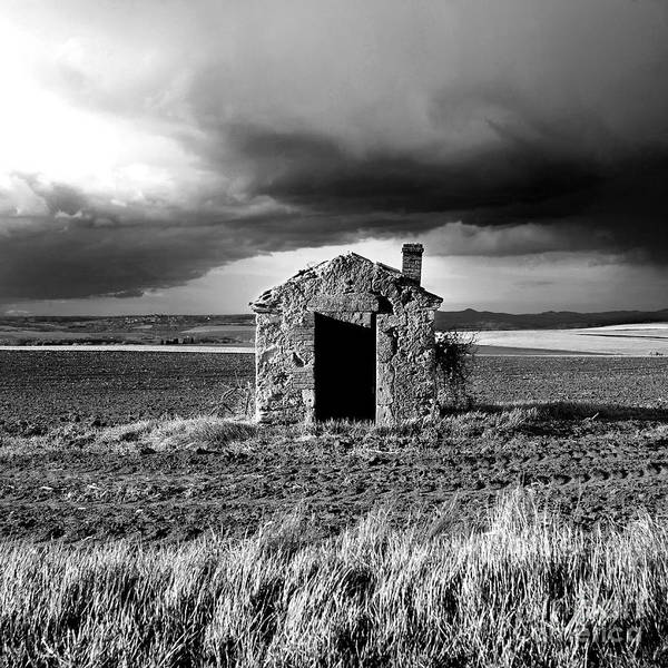 The Art Print featuring the photograph Derelict Stone Shed In Auvergne. France by Bernard Jaubert