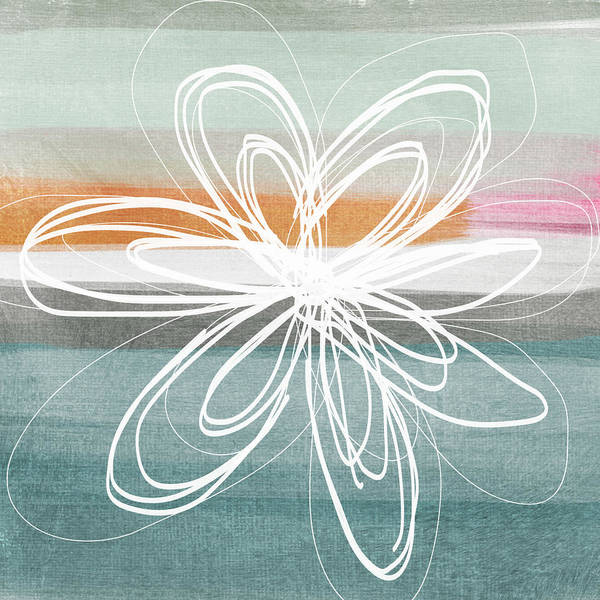 Flower Painting Art Print featuring the painting Desert Flower- Contemporary Abstract Flower Painting by Linda Woods