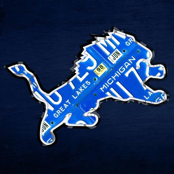 Detroit Lions Football Team Retro Logo License Plate Art License Plate Map Art Print featuring the mixed media Detroit Lions Football Team Retro Logo License Plate Art by Design Turnpike