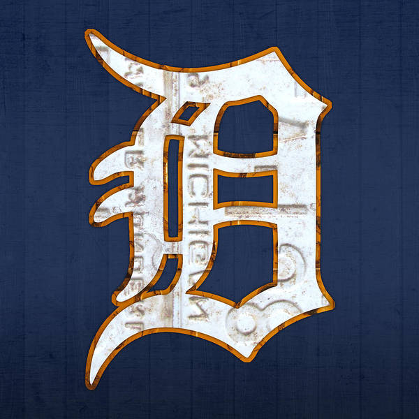Detroit Tigers Baseball Old English D Logo License Plate Art Sports Michigan License Plate Map Art Print featuring the mixed media Detroit Tigers Baseball Old English D Logo License Plate Art by Design Turnpike