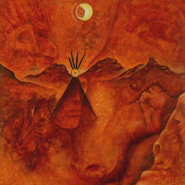 Native American Art Print featuring the painting Doorways by Kevin Chasing Wolf Hutchins