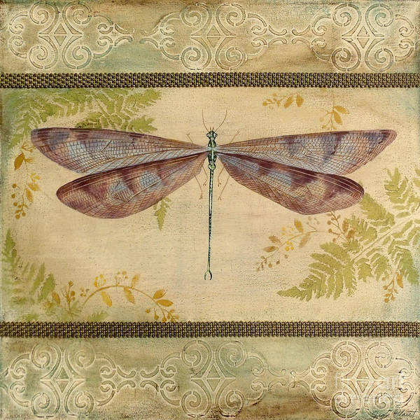 Acrylic Painting Art Print featuring the painting Dragonfly Among The Ferns-3 by Jean Plout