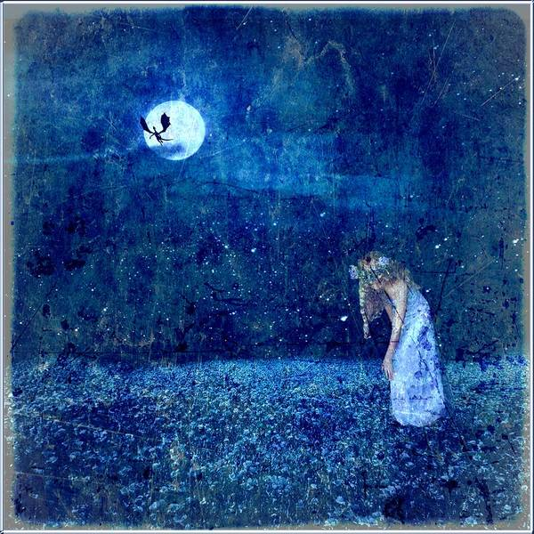 Digital Art Print featuring the digital art Dreaming In Blue by Rhonda Barrett