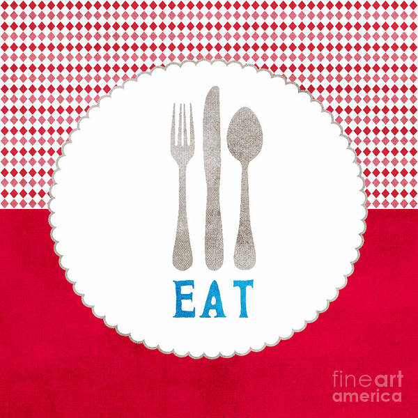 Eat Art Print featuring the painting Eat by Linda Woods