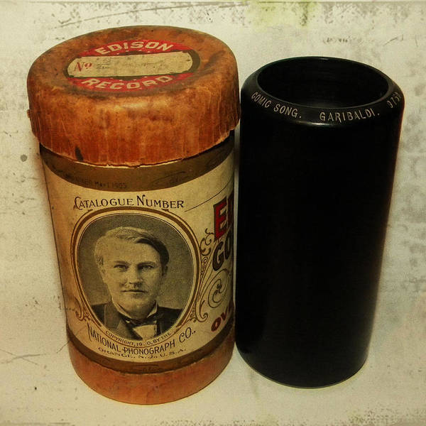 Edison Phonograph Cylinder 9750 Comic Song Garibaldi Print featuring the photograph Edison Phonograph Cylinder 9750 Comic Song Garibaldi by Bill Cannon