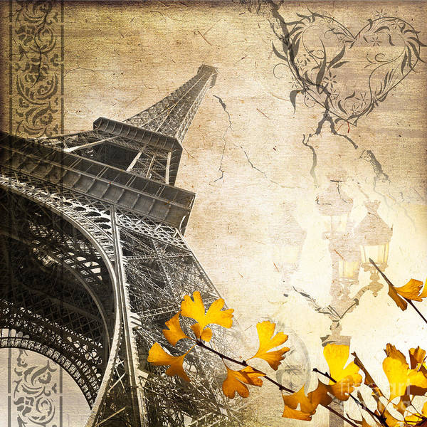 Eiffel Tower Art Print featuring the digital art Eiffel Tower Vintage Collage by Delphimages Photo Creations