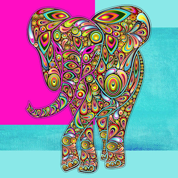 Elephant Print featuring the digital art Elefantos - 01ac02aa by Variance Collections