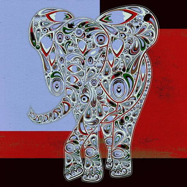 Elephant Art Print featuring the digital art Elefantos - 01ac9at01 by Variance Collections