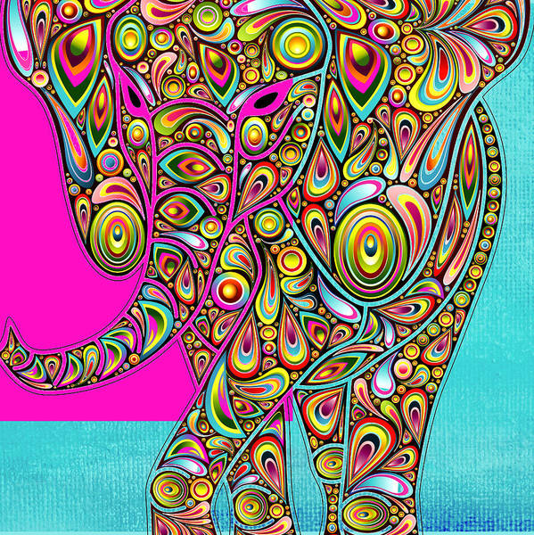 Elephant Art Print featuring the digital art Elefantos - Bg01ac02 by Variance Collections