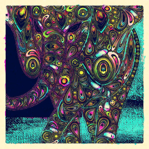 Elephant Art Print featuring the digital art Elefantos - Ptjs01a by Variance Collections