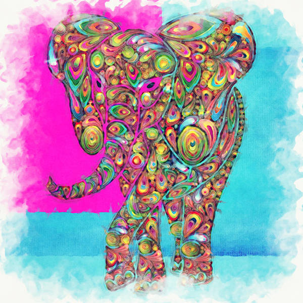 Elephant Print featuring the digital art Elefantos - Ptw01a by Variance Collections