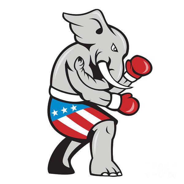 Elephant Art Print featuring the digital art Elephant Mascot Boxer Boxing Side Cartoon by Aloysius Patrimonio