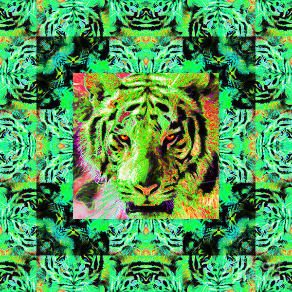 Tiger Art Print featuring the photograph Eyes Of The Bengal Tiger Abstract Window 20130205m180 by Wingsdomain Art and Photography