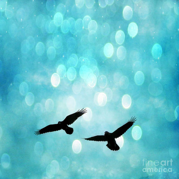 Sparkling Aquamarine Blue Bokeh Art Print featuring the photograph Fantasy Surreal Ravens Flying - Aquamarine Blue Bokeh Sparkling Lights by Kathy Fornal