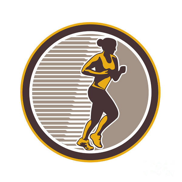 Female Art Print featuring the digital art Female Marathon Runner Side View Retro by Aloysius Patrimonio