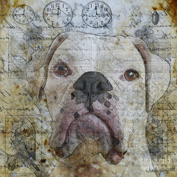 Dog Art Print featuring the digital art Field Study--whites by Judy Wood