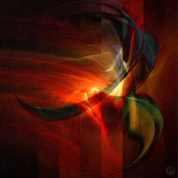 Abstract Print featuring the digital art Fiery Flight by Gun Legler