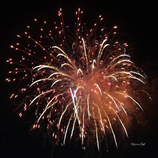 July Art Print featuring the photograph Fireworks Series Xv by Suzanne Gaff