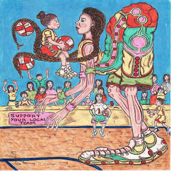 Basketball Art Print featuring the mixed media First Lesson by Richard Hockett