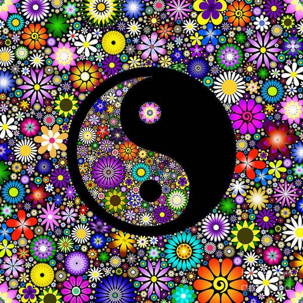 Yin Yang Art Print featuring the digital art Floral Yin Yang by Tim Gainey