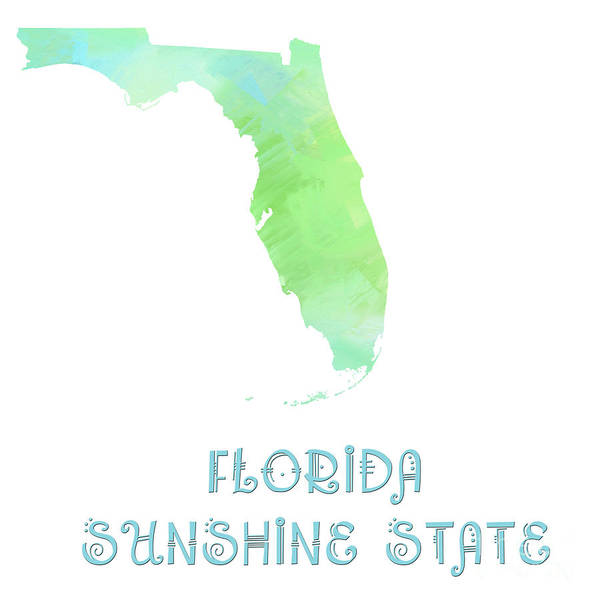 Andee Design Art Print featuring the digital art Florida - Sunshine State - Map - State Phrase - Geology by Andee Design