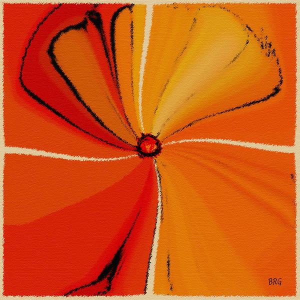 Orange Flower Art Print featuring the digital art Flower Arrangement by Ben and Raisa Gertsberg